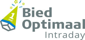 Logo BiedOptimaal Intraday 1-jarig jubileum